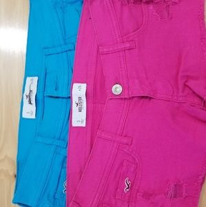Cut off Pink and Blue shorts